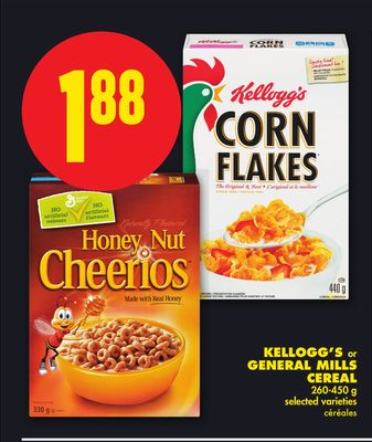 Kellogg's or General Mills Cereal - 260-450 g