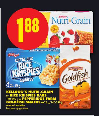 Kellogg's Nutri-grain Or Rice Krispies Bars 160-295 g Or Pepperidge Farm Goldfish Snacks 6x28 G/140-227g