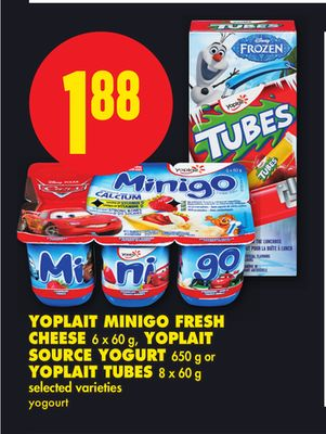 Yoplait Minigo Fresh Cheese 6 X 60 g - Yoplait Source Yogurt 650 g or Yoplait Tubes 8 X 60 g