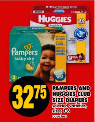 Pampers And Huggies Club Size Diapers - Sizes 1-6