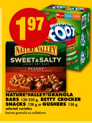 Nature Valley Granola Bars 130-230 g - Betty Crocker Snacks 128 g or Gushers 138 g