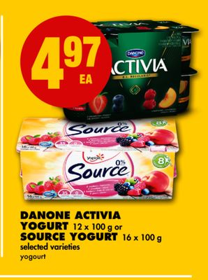 Danone Activia Yogurt - 12 X 100 g or Source Yogurt - 16 X 100 g