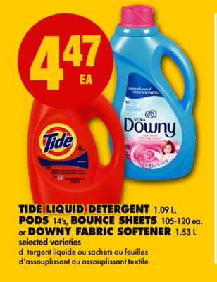 Tide Liquid Detergent - 1.09 L - PODS - 14's - Bounce Sheets - 105-120 Ea. or Downy Fabric Softener - 1.53 L