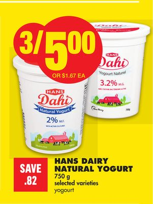 Hans Dairy Natural Yogurt