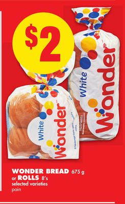 Wonder Bread 675 g or Rolls 8's