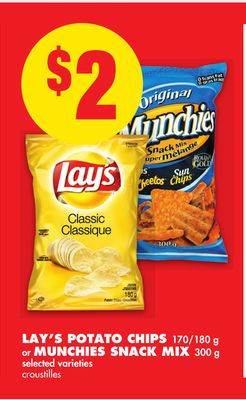 Lay's Potato Chips 170/180 g or Munchies Snack Mix 300 g