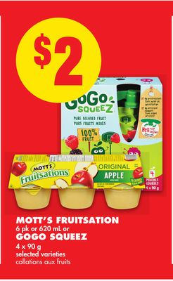 Mott's Fruitsation 6 Pk or 620 mL or Gogo Squeez 4 X 90 g