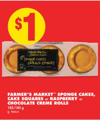 Farmer's Market Sponge Cakes - Cake Squares or Raspberry or Chocolate Creme Rolls