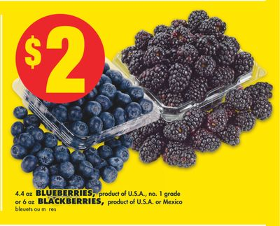 4.4 Oz Blueberries or 6 Oz Blackberries.