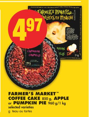 Farmer's Market Coffee Cake - 850 g - Apple or Pumpkin Pie - 960 G/1 Kg