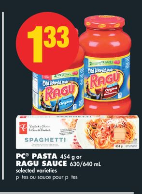 PC Pasta - 454 g or Ragu Sauce - 630/640 mL