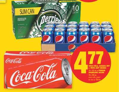 Coca-cola - Canada Dry or Pepsi Soft Drinks - 18 X 355 mL or Perrier Sparkling Water - 10 X 250 mL