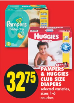Pampers & Huggies Club Size Diapers - Sizes 1-6
