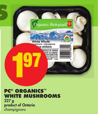 PC Organics White Mushrooms - 227 g