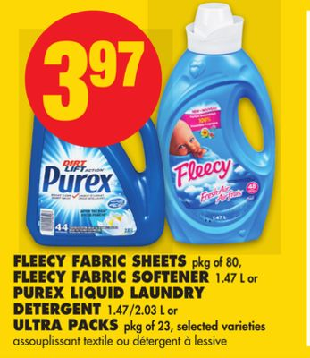 Fleecy Fabric Sheets - Pkg of 80 - Fleecy Fabric Softener - 1.47 L or Purex Liquid Laundry Detergent - 1.47/2.03 L or Ultra - Packs Pkg of 23
