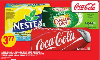 Coca-cola or Canada Dry Soft Drinks or Nestea Iced Tea or Minute Maid - Five Alive or Fruitopia Fruit Drinks - 12 X 341-355 mL