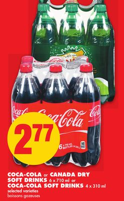 Coca-cola or Canada Dry Soft Drinks - 6 X 710 ml or Coca-cola Soft Drinks - 4 X 310 ml