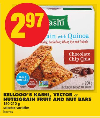 Kellogg's Kashi - Vector or Nutrigrain Fruit And Nut Bars - 160-210 g