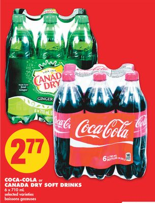Coca-cola or Canada Dry Soft Drinks - 6 X 710 mL