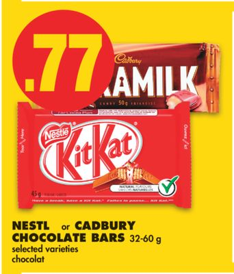 Nestlé or Cadbury Chocolate Bars - 32-60 g