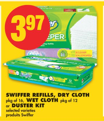 Swiffer Refills - Dry Cloth - Pkg of 16 - Wet Cloth - Pkg of 12 or Duster Kit