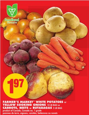 Farmer's Market White Potatoes or Yellow Cooking Onions - 10 Lb Bag or Carrots - Beets or Rutabagas - 5 Lb Bag