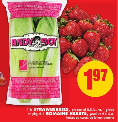 1 Lb - Strawberries - or Pkg of 2 - Romaine Hearts
