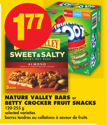 Nature Valley Bars or Betty Crocker Fruit Snacks - 120-255 g
