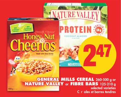 General Mills Cereal - 260-500 g or Nature Valley or Fibre Bars - 125-210 g