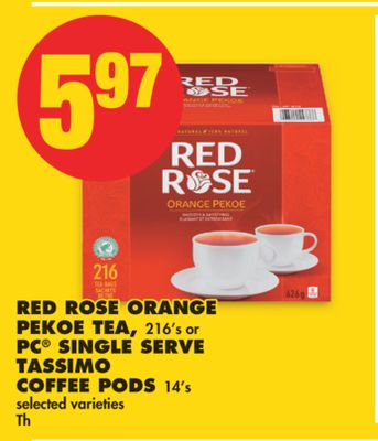 Red Rose Orange Pekoe Tea - 216's or PC Single Serve Tassimo Coffee PODS - 14's