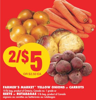 Farmer's Market Yellow Onions or Carrots - 10 Lb Bag or Beets or Rutabagas - 5 Lb Bag