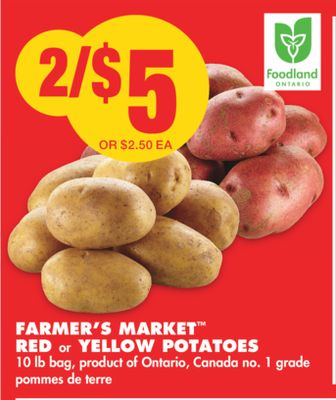 Farmer's Market Red or Yellow Potatoes - 10 Lb Bag