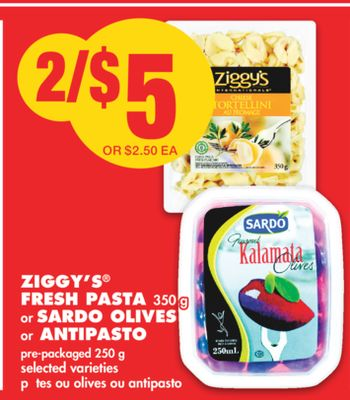 Ziggy's Fresh Pasta 350 g or Sardo Olives or Antipasto Pre-packaged 250 g
