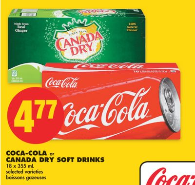 Coca-cola or Canada Dry Soft Drinks - 18 X 355 mL