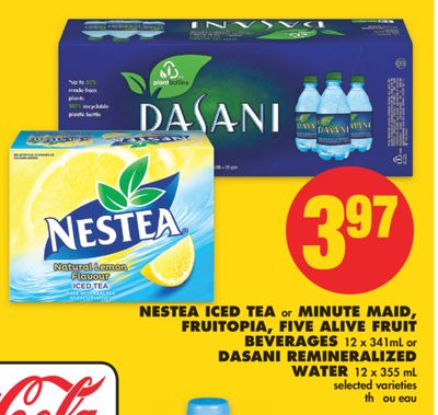 Nestea Iced Tea or Minute Maid - Fruitopia - Five Alive Fruit Beverages 12 X 341ml or Dasani Remineralized Water 12 X 355 mL