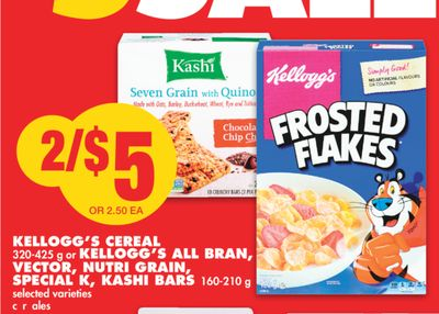 Kellogg's Cereal - 320-425 g or Kellogg's All Bran - Vector - Nutri Grain - Special K - Kashi Bars - 160-210 g