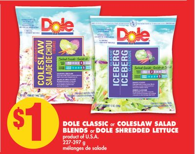 Dole Classic or Coleslaw Salad Blends or Dole Shredded Lettuce - 227-397 g