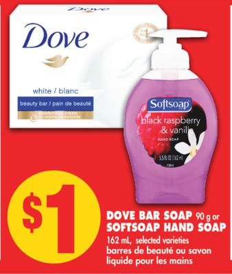 Dove Bar Soap 90 g or Softsoap Hand Soap 162 mL