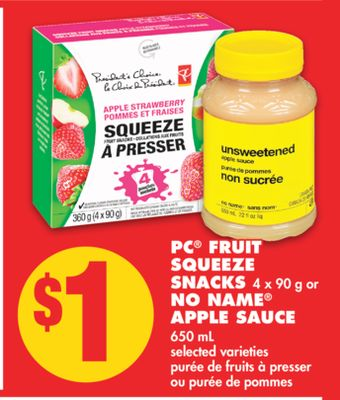 PC Fruit Squeeze Snacks 4 X 90 g or No Name Apple Sauce - 650 mL