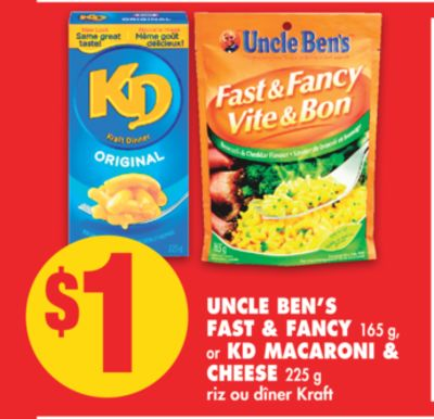 Uncle Ben's Fast & Fancy - 165 g - or Kd Macaroni & Cheese - 225 g