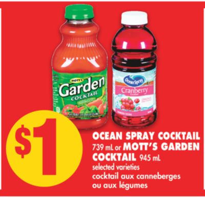 Ocean Spray Cocktail 739 mL or Mott's Garden Cocktail 945 mL