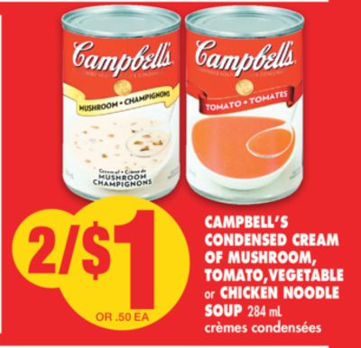 Campbell's Condensed Cream Of Mushroom - Tomato.vegetable or Chicken Noodle Soup 284 mL
