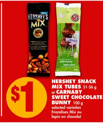 Hershey Snack Mix Tubes - 51-56 g or Carnaby Sweet Chocolate Bunny - 100 g