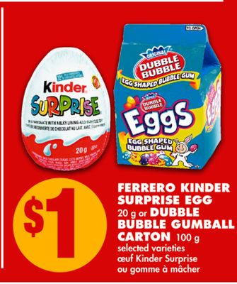 Ferrero Kinder Surprise Egg - 20 g or Dubble Bubble Gumball Carton - 100 g