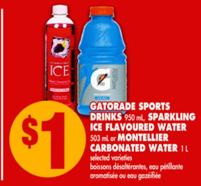 Gatorade Sports Drinks - 950 mL - Sparkling Ice Flavoured Water - 503 mL or Montellier Carbonated Water - 1 L