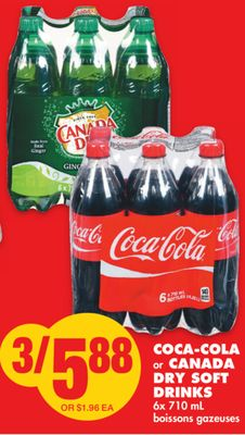 Coca-cola or Canada Dry Soft Drinks 6x 710 mL