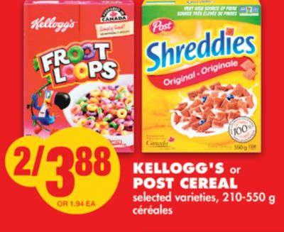 Kellogg's or Post Cereal - 210-550 g