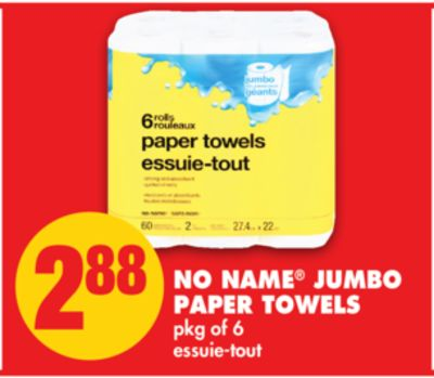 No Name Jumbo Paper Towels - Pkg of 6
