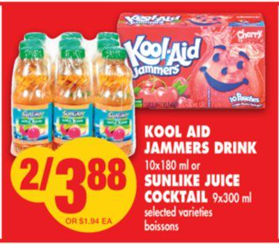 Kool Aid Jammers Drink 10x180 ml or Sunlike Juice Cocktail 9x300 ml