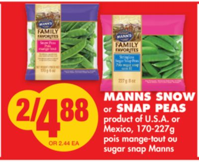 Manns Snow or Snap Peas - 170-227g